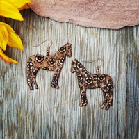 Leather Floral Horse Earrings