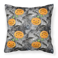 Watecolor Halloween Jack-O-Lantern Bats Fabric Decorative Pillow BB7525PW1414