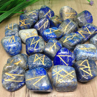 Lapis Lazuli Runes Set for reiki healing, complete with stylish pouch