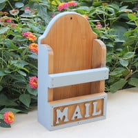 Cottage chic wood mail holder with gray blue painted accents