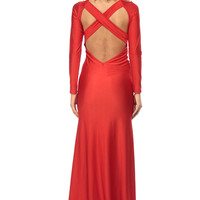 Red Luxe Tail Mermaid Maxi Dress