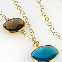 Candy Color Gemstone Necklace with London Blue Quartz and Smoky Quartz Gold Filled 18""