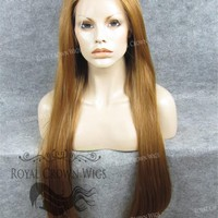 """30 inch Heat Safe Synthetic Straight Lace Front """"Hera"""" in Reddish Blonde"""