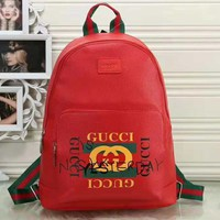GUCCI New fashion letter graffiti print leather high capacity backpack bag Red