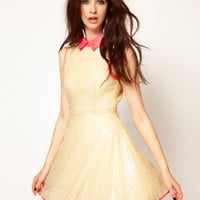 Lashes Of London Sequin Skater Dress with Neon Collar at asos.com