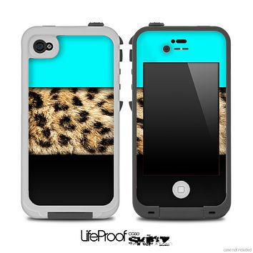 Three-Toned Turquoise Cheetah Skin for the iPhone 5 or 4/4s LifeProof Case