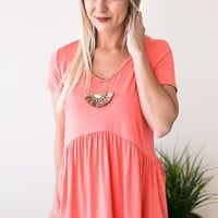 Forever Your Girl Babydoll Top - Neon Coral