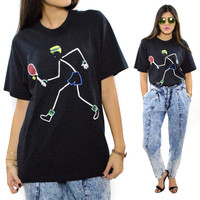 Vintage 90s Stick Figure Tennis Screen Stars Best T Shirt Sz L