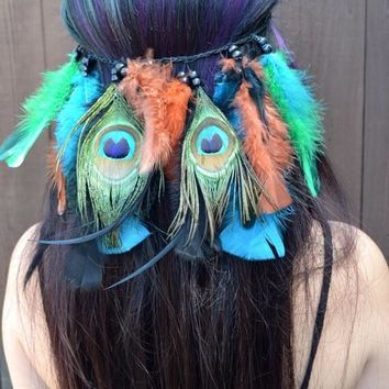 Peacock Feather Headband #B1021
