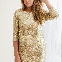 Bling Gold Sequin Cocktail Dress