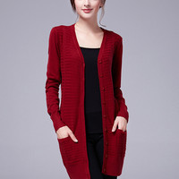 Wine Red V Neck Buttons Knit Long Sleeve Cardigan
