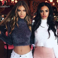 Winter Warm Hairy Turtleneck Sweater Women Autumn Plush Black White Fashion Sweater Short Top Basic Full Sleeve Gray Crop Tops