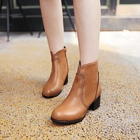 Round Toe Ankle Boots High Heels Women Shoes Fall Winter 1570