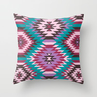 Navajo Dreams - Turquoise Throw Pillow by Bohemian Gypsy Jane