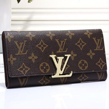 LV Louis Vuitton Classic Letters Gold Buckle Flap Long Wallet Clutch Bag