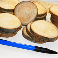10 wood slices. Wooden discs, natural charms. Wood jewelry supplies, jewelry findings. Slices for weeding. Best offers slices