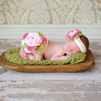 New Spring Design Handmade Knitting Flower Pants Headband Newborn Baby Pography Props Set For Girl Baby Clothes 0-3 Months