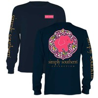 Simply Southern Preppy Collection Elephant Daisy Long Sleeve Tee in Navy LS-PRPDAISY-NAVY