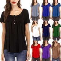 Round Neck Loose Ruched T Shirts Tops Solid Color Short Sleeve T Shirt Tees Summer Women Clothes Drop Ship 220189