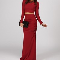 Red Polished Two Piece Long Dress