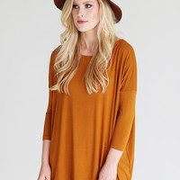 Gold PIKO 3/4 Sleeve Top