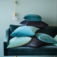 Fine Blues and Greens Velvet Throw Pillow Covers