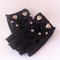 Fingerless Heart Studded Vegan Leather Ladies Gloves