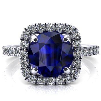Molly Round Blue Sapphire Halo 4 Prong 3/4 Diamond Eternity Engagement Ring