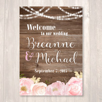 Rustic Wedding Welcome Sign, Floral Sign, String of Lights, Wood Background, LARGE- PRINTABLE Sign