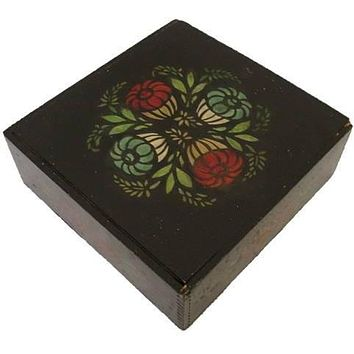Antique Black / Red & Green  Folk Art Tole Handpainted Painted Wooden Box Primitive