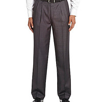 Roundtree & Yorke Pleated Easy-Care Dress Pants - Grey