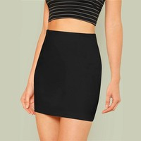 Black Office Lady Solid Elegant Mini Bodycon Skirt Mid Waist Women Going Out Short Minimalist Pencil Skirts