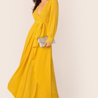 Self Belted Maxi Dress Wrap Skirt