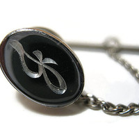 Vintage Tie Tack Lapel Pin Script Letter Initial J Silver Tone Faux Hematite Mens Formal Jewelry Hipster Mid Century Guys Gift