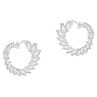 Adelyn 18k White Gold Plated Hoop Earrings with CZ Crystals