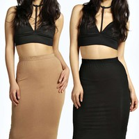 Cate Two Pack Basic Jersey Midi Skirt