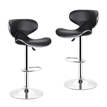New 1 Pair Quality Artificial PU Leather Butterfly Backrest Chair Morden Bar Stool Height Adjusted Kitchen Bar Taburete HWC