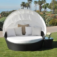 Caluco Maxime All-Weather Wicker Daybed Set with Canopy | www.hayneedle.com