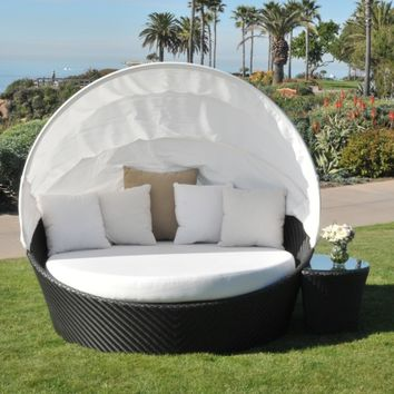 Caluco Maxime All-Weather Wicker Daybed Set with Canopy   www.hayneedle.com
