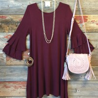 She's the Talk of the Town Dress: Burgundy