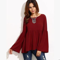 Burgundy Loose Trumpet Sleeve Blouse B0013834