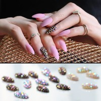 False nails stiletto with Stickers 24pcs Pure color Matte  Pink Press On Nails Bling crystal Nail Art fake nails lovely natural