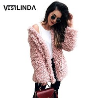 VESTLINDA Winter Grey Wool Overcoat Warm Outerwear Women Pink Faux Fur Coat Turn Down Collar Long Sleeve Cardigan Female Outwear