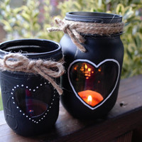 Chalkboard Mason Jar Candle Holders / Hearts and Twine