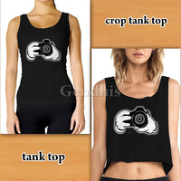mickey mouse Hands Holding Camera Tanktop Custom Woman Crop Tank , Woman Tank Top , Man Tank Top