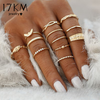 12 pc/set Charm Gold Color Midi Finger Ring Set for Women Vintage Punk Boho Knuckle Party Rings Jewelry Gift for Girl 0527
