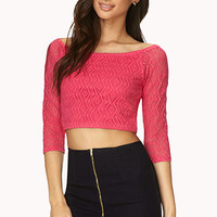 FOREVER 21 Be Seen Open-Knit Crop Top
