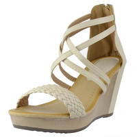 Womens Platform Sandals Weaved Strappy High Wedge Shoes Beige SZ