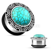 Single Flare Turquoise Stone Plugs Turquoise Brass Single Flare Plug with O-ring