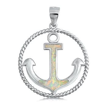 A White or Blue Opal Anchor Pendant Necklace